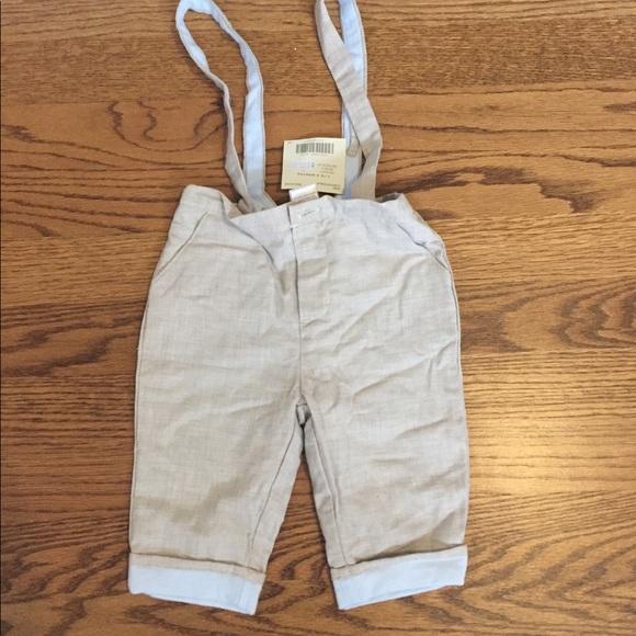 e50b25a84f3 Janie   Jack Baby Boy Linen Pants w Suspenders NWT